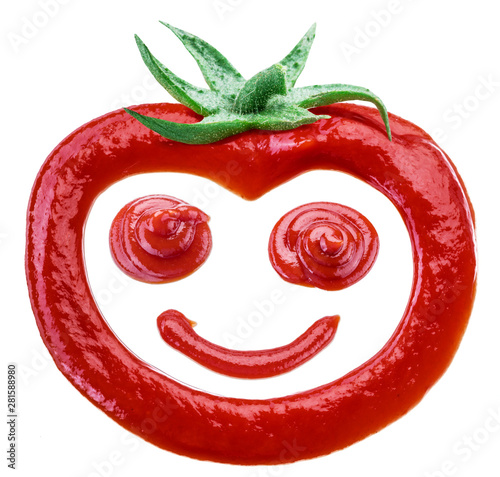 Fotografie, Tablou Tasty tomato ketchup in the shape of smiling tomato fruit isolated on white background