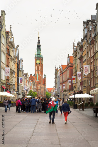 Photo Stone streets and tourists Gdansk