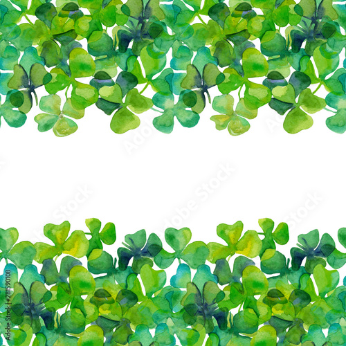 Fototapety, obrazy: Watercolor hand drawn clover leaves in seamless border on white background. Aquarelle green and blue colors. full frame. Design for covers, wallpapers, backgrounds.