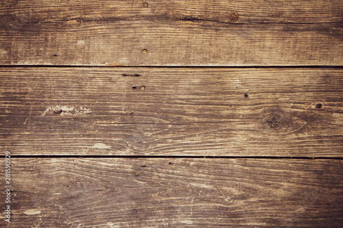 Recess Fitting Wood Empty old grunge dark brown nailed hard wood. Plank horizontal background texture.