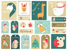 Christmas Holiday Set With A Hand Drawn Animals.