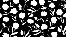 Trendy Seamless Floral Pattern. White Flowers On Black Background. Vector Illustration