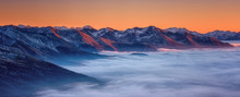Amazing Nature Landscape, Scenic Panoramic Top View Of The Alps Mountain Range With Clouds At Sunset, Outdoor Travel Background, Hohe Tauern National Park, Carinthia, Austria