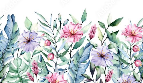 akwarela-tropikalnych-lisci-i-kwiatow-powtarzajacy-sie-baner-graniczny-na-artykuly-stacjonarne-pozdrowienia-itp-dekoracja-kwiatowa-na-przyjecie-aloha-rysunek-odreczny