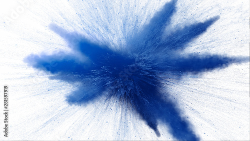 Fototapeta  3d illustration of blue colored powder explosion isolated on white background