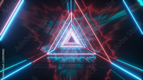 Recess Fitting Equestrian Flying through glowing neon triangles creating a tunnel with grunge reflection, blue red spectrum, fluorescent ultraviolet light, modern colorful lighting, 3d illustration