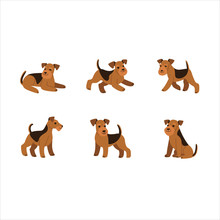 Airedale Terrier Icon Set. Different Type Of  Airedale Terrier. Vector Illustration For Prints, Clothing, Packaging, Stickers, Stickers.