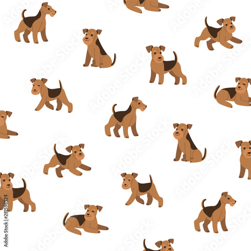 Photo Cartoon happy airedale terrier - simple trendy pattern with dogs