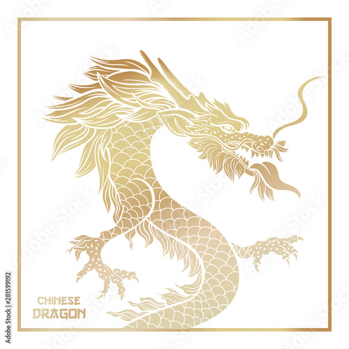 Chinese mythic dragon poster template Tablou Canvas