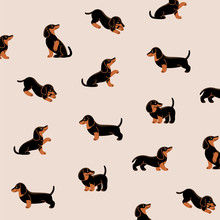 Cartoon Happy Black Dachshund - Simple Trendy Pattern With Dogs. Flat Vector Illustration For Prints, Clothing, Packaging And Postcards.