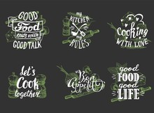 Cuisine Quotes Hand Lettering Typography, Vector Illustration