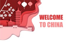 Welcome To China Poster, Vector Paper Cut Illustration
