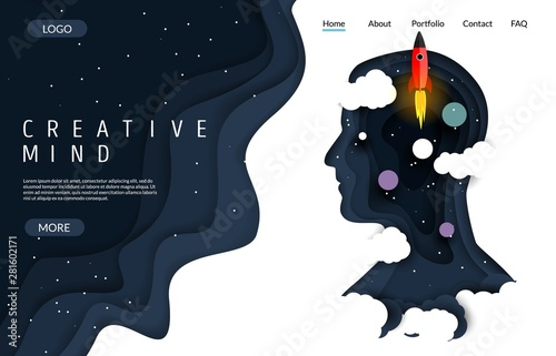 Photo Creative mind vector website landing page design template