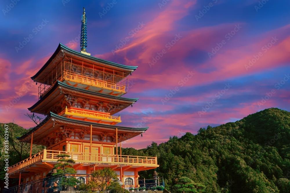 Fototapeta Sunset over Japanese pagoda