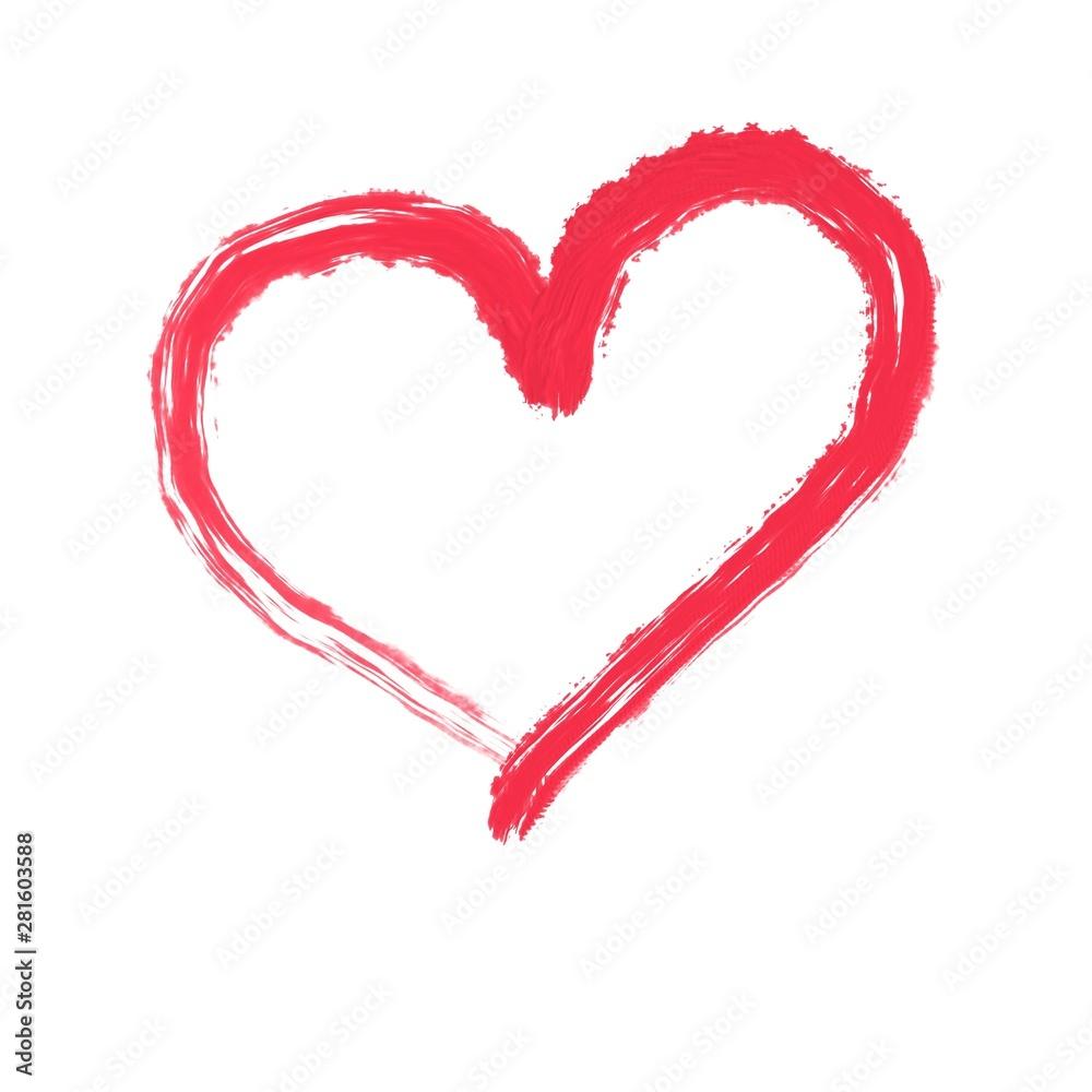 Fototapeta red heart isolated on white background