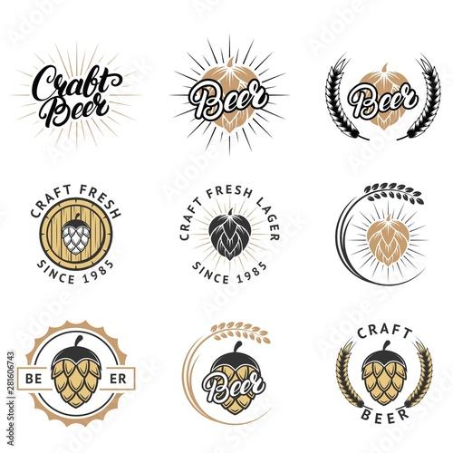 Craft fresh beer emblem, logo, badge and label vector set Wallpaper Mural