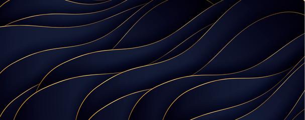 FototapetaLuxury paper cut background, Abstract decoration, golden pattern, halftone gradients, 3d Vector illustration. Black, white, blue, gold waves Cover template, geometric shapes, modern minimal banner.