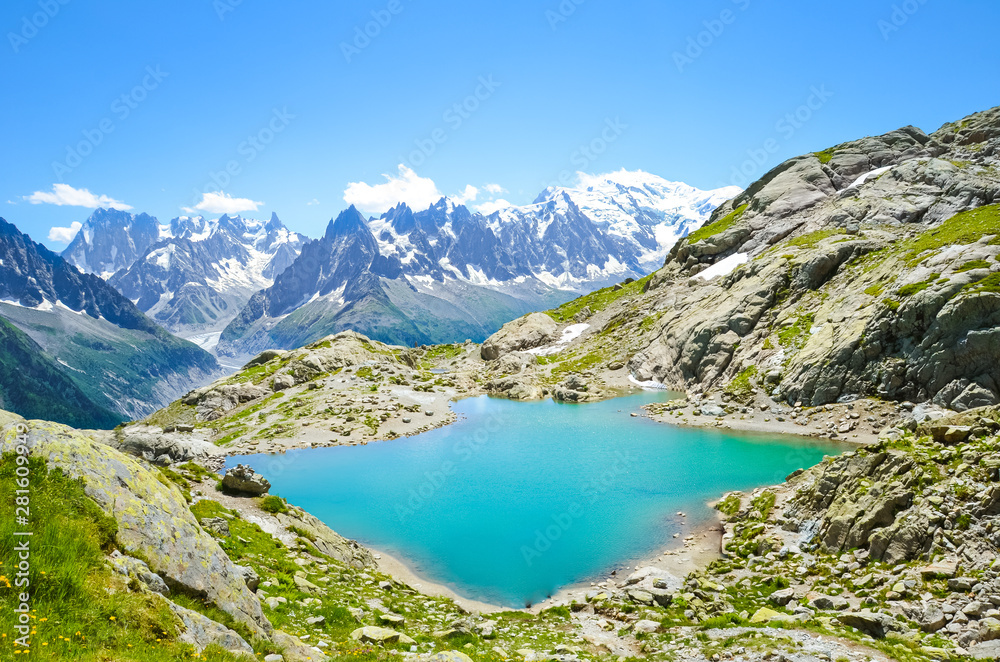 Fototapety, obrazy: Beautiful landscape of French Alps. Turquoise Lake Blanc, in French Lac Blanc photographed on a sunny summer day with Mount Blanc and other high Alpine mountains in background. Amazing nature, France
