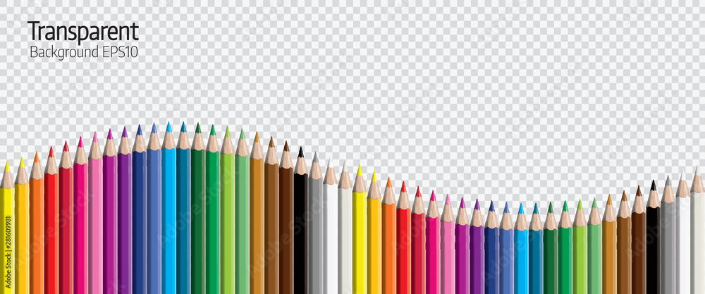 Fototapety, obrazy: Set of colored pencil collection evenly arranged - seamless in both directions - isolated vector illustration craynos on transparent background.