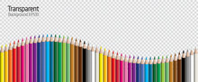 Set Of Colored Pencil Collection Evenly Arranged - Seamless In Both Directions - Isolated Vector Illustration Craynos On Transparent Background.