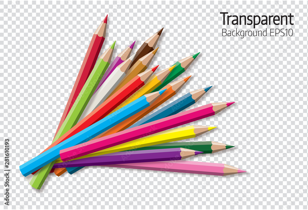 Fototapeta Set of colored pencil collection - isolated vector illustration colorful pencils on transparent background.