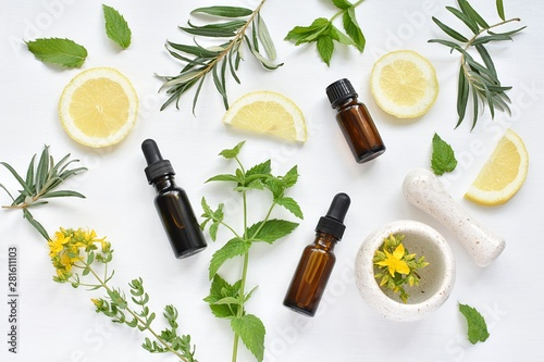 Photo  Alternative medicine concept, phytotherapy, natural treatment, herbs, lemon, oils, mortar and pestle, flat lay on white background