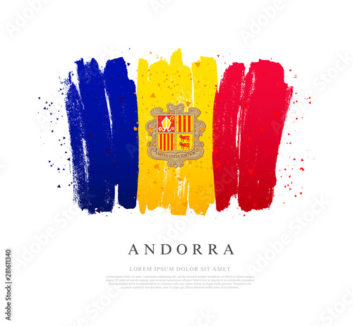 Flag of Andorra. Brush strokes are drawn by hand. Canvas Print