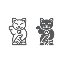 Maneki Neko Line And Glyph Icon, Asian And Animal, Japanese Cat Sign, Vector Graphics, A Linear Pattern On A White Background.