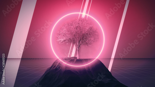 Foto auf Leinwand Rosa Lovey Synthwave dystopian tree with rocks and neon circle