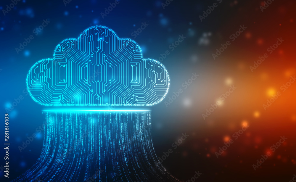 Fototapety, obrazy: 2d illustration of  Cloud computing, Cloud computing and Big data concept, Cloud computing technology internet concept background