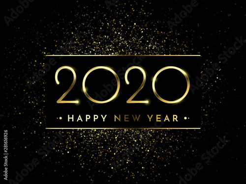 Happy New Year of glitter gold fireworks Wallpaper Mural