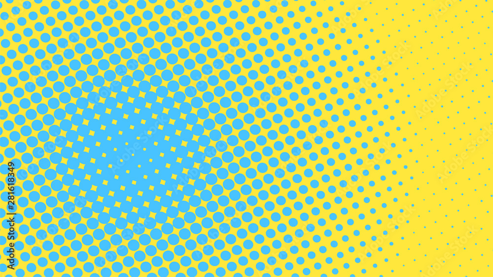 Fototapeta Yellow and blue pop art background with dots design, abstract vector illustration in retro comics style