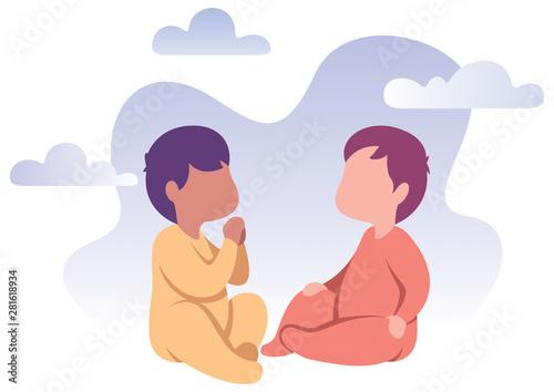 Babies Flat Design Fototapet