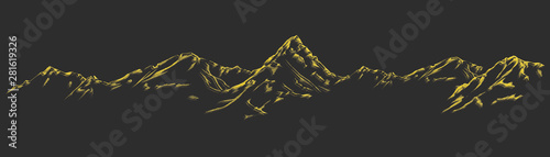 Aluminium Prints Gray traffic Handdrawn mountain background set