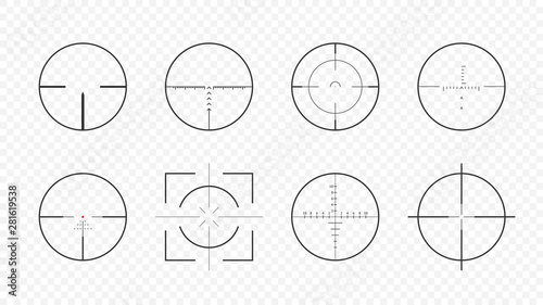 Fotografiet  Weapon realistic aim scopes collection