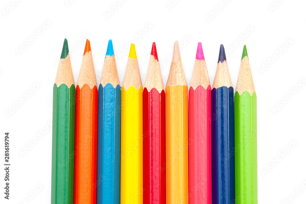 Fototapety, obrazy: Back to School - Color Pencils isolated on white Background,