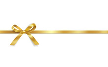 Golden Satin Bows With Horizontal Ribbon Isolated On White Background. Vector Holiday Decoration.