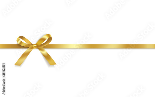 Golden satin bows with horizontal ribbon isolated on white background Fototapete