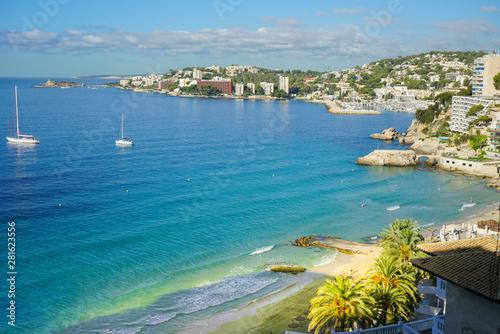 Poster Bleu Panoramic view at Cala Major beach, Spain, Palma de Mallorca