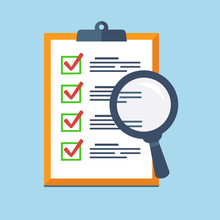 Search Icon On A Report Board, Audit Review, Check List Icon.