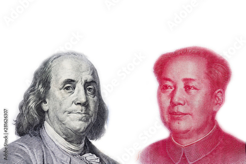 Vászonkép  Face to face to Benjamin Franklin and Mao Tse tung for symbol of economic tariff trade war between USA and China