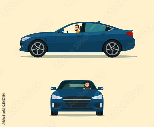 Spoed Foto op Canvas Cartoon cars Sedan car two angle set. Car with driver man side view and front view. Vector flat style illustration.