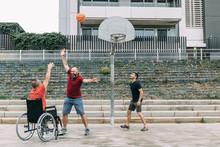 Disabled Man Playing Basketbal...