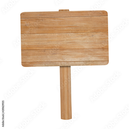 Wooden sign isolated on white background with clipping path.
