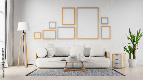 Fotografie, Obraz  Interior poster mock up living room with colorful white sofa