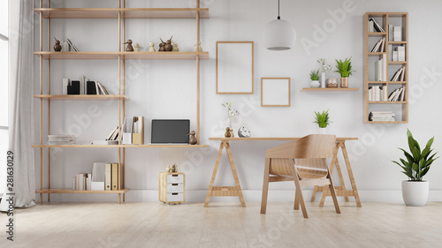 Photo  Interior poster mock up living room with colorful white sofa