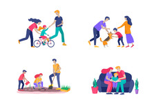 Collection Of Family Hobby Activities . Mother, Father And Children Teach Daughter To Ride Bike, Play With Dog Corgi, Read Book And Teach Child, Gardening And Plant Sprouts. Cartoon Illustration