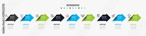 Fototapeta Business timeline infographics template with 7, 8, 9 options, steps, arrow, icons, flowchart, presentations, workflow. Vector eps10 illustration. obraz