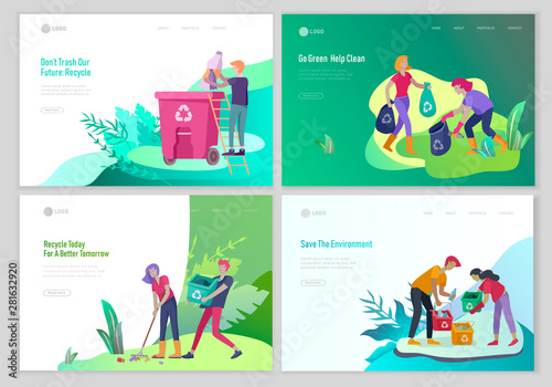 Fototapeta  Landing page template with people Recycle Sort Garbage in different container for Separation to Reduce Environment Pollution