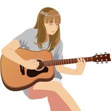 Cute Musician Playing Guitar. Vector Illustration